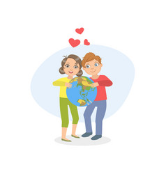 cute happy boy and girl holding erth globe vector image