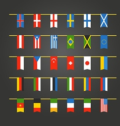 Different color flags countries on rope vector