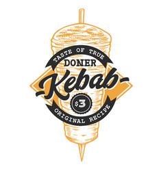 doner kebab retro emblem vector image