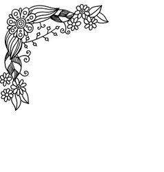 doodle frame with summer flowers coloring page vector image
