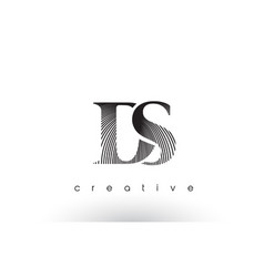 Ds logo design with multiple lines and black and vector