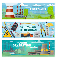 Electrician tools electricity power stations vector