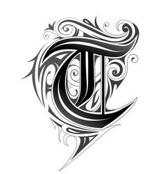 elegant letter font t vector image