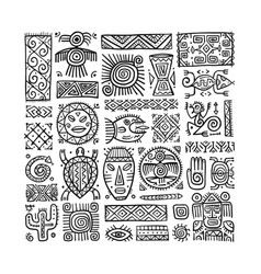 Ethnic mexican decor handmade background for your vector