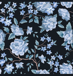 floral seamless pattern flower rose black vector image