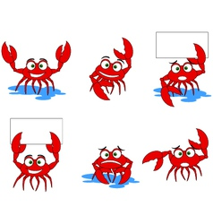 Funny red crabs cartoon collection vector