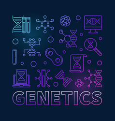 Genetics square colored concept line vector