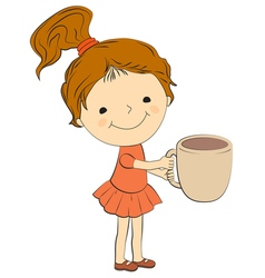 girl with cup vector image