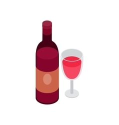Glass and bottle wine icon isometric 3d style vector
