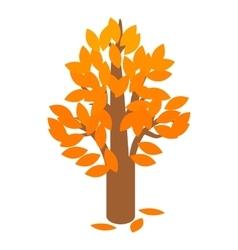 Golden autumn tree icon isometric 3d style vector