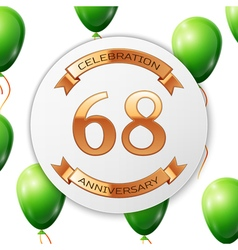Golden number sixty eight years anniversary vector image