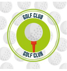 golf club on a tee emblem balls background vector image