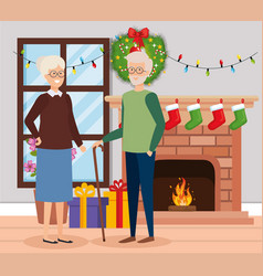 Grandparents with december clothes in livingroom vector