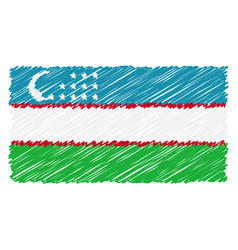 hand drawn national flag of uzbekistan isolated on vector image