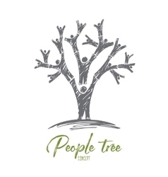 Hand drawn tree formed with human bodies vector image