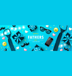 Happy father s day banner with tie glasses phone vector