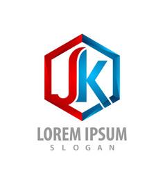 hexagon initial letter jk logo concept design vector image