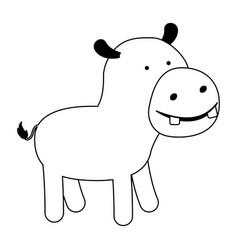 Hippopotamus cartoon black silhouette in white vector