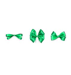 holiday satin gift bow knot ribbon green spring vector image