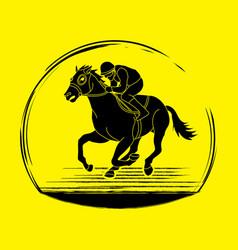 Horse racing horse with jockey vector