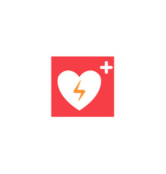 Icon heart automated external defibrillator vector