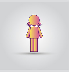 Icon pink stick figure female women or girl vector