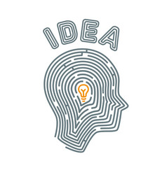 idea concept maze in the shape of a vector image