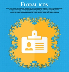 Identification card icon Floral flat design on a vector image