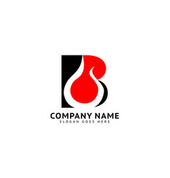 Initial letter b fire logo design vector