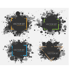 ink spots set collection in black and vector image