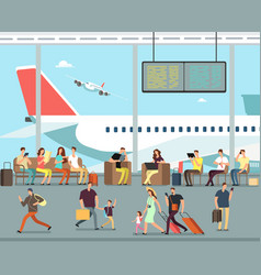 International airport terminal with sitting vector