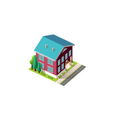 isometric facade red home penthouse vector image