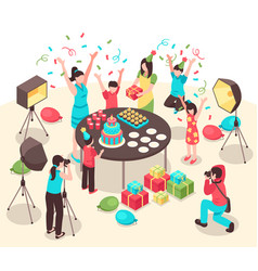 Kids party photographers isometric vector