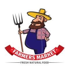 label or logo with farmer vector image