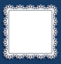 lace doily square cutout paper frame vector image