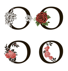Letters o with flowers bouquet vector