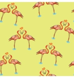 love pink flamingos in water vector image