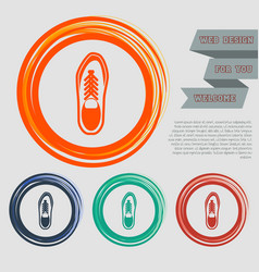 low shoe icon on the red blue green orange vector image