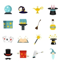 Magic icons set in flat style vector image