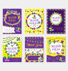 Mardi gras carnival set poster invitation vector