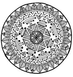 Maya round mandala doodle for yoga and meditation vector
