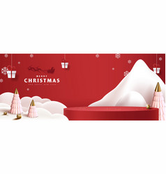 Merry christmas banner with product display vector
