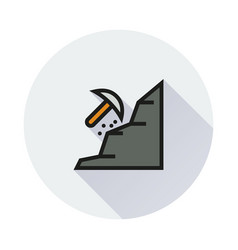 mining icon on round background vector image