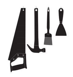 monochrome icon with building tools vector image