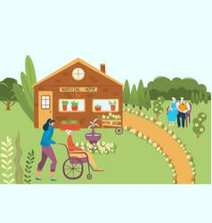 Nursing home elderly person in wheelchair vector
