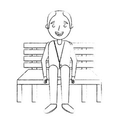 Old man grandpa sitting in bench waiting vector