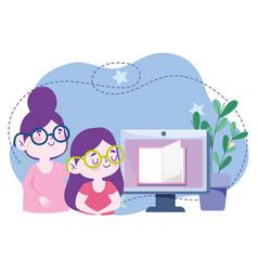 Online education teacher student girl computer vector