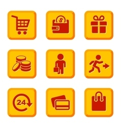 orange shopping icons set vector image