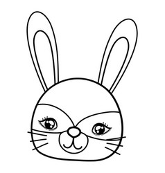 Outline cute rabbit head with costume mask vector