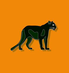 panther paper sticker on stylish background vector image